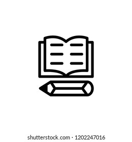 Book And Pencil icon for school, web, icon ,education, ui, mobile, design, box, accessories, novelist, icon literacy, etc.