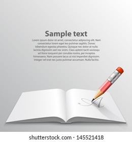 Book with pencil, vector background,