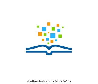 Book Pixel Icon Logo Design Element