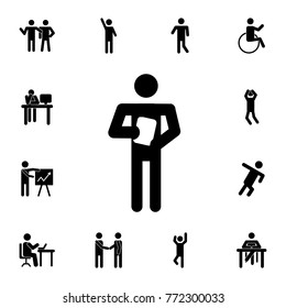 Book Reader man standing silhouette icon. Set of Silhouettes of people in different activities icons. Premium quality graphic design collection icons for websites, web design on white background