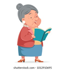 Book Reading Grandmother Old Woman Granny Character Adult Icon Cartoon Design Vector Illustration
