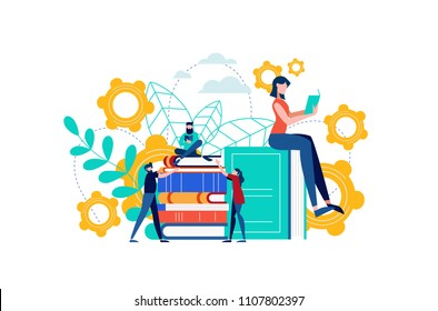 Book reading illustration, people studying for college exam preparation, distance learning or study group concept. EPS10 vector.