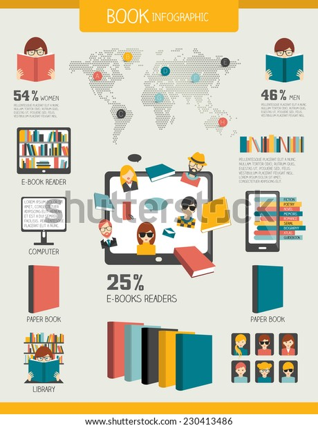 book-reading-infographics-flat-vector-60