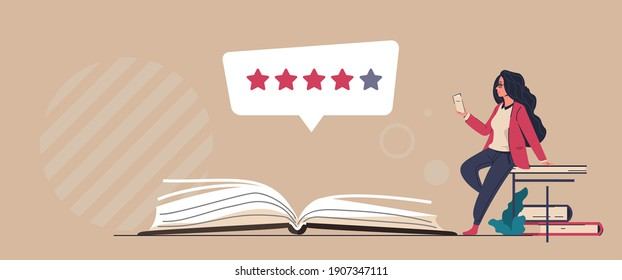 Book review. Reader feedback. Online service for analysis and comments about publications. Literature rating concept. People read and share opinions about stories or novels. Vector literary critic