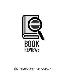 Book reviews service logo template. Search inside the dictionary