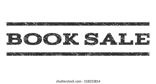 Book Sale watermark stamp. Text tag between horizontal parallel lines with grunge design style. Rubber seal stamp with unclean texture. Vector gray color ink imprint on a white background.