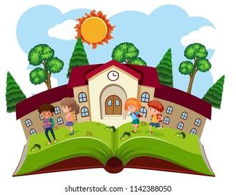 A book school template illustration