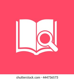 Book Search white icon on magenta color background. Eps-10.