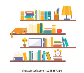 book shelf background with elements such as lamp, alarm clock and cat, flat design