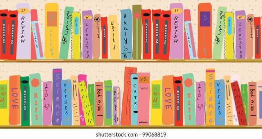 Book shelf banner funny cartoon
