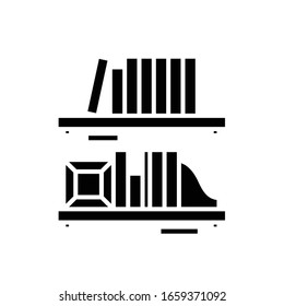Book shelf black icon, concept illustration, vector flat symbol, glyph sign.