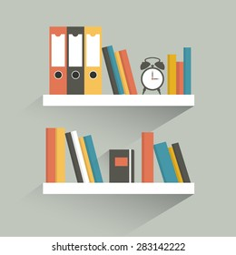 Book shelf. Flat design. Vector.