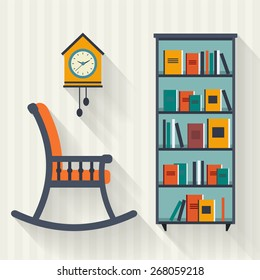 Book shelf and rocking chair. Flat style vector illustration.