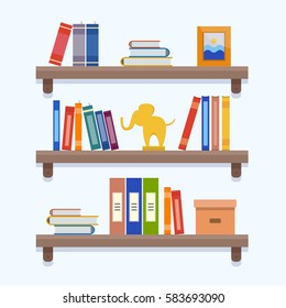 Book shelves. Flat style vector illustration.