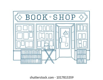 Book shop front vector illustration. Hand drawn facade of book store