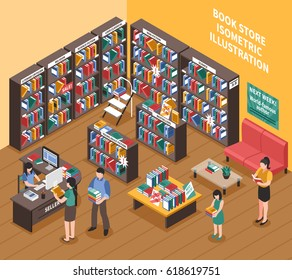 Book shop interior isometric illustration of bookshelves with printed publications stepladder shoppers and seller vector illustration