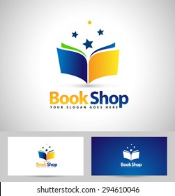 Book Shop Logo Design. Creative Book Icon Design and business card template.