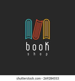 Book shop logo, encyclopedia emblem mockup of sign literature store, design library icon