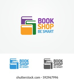 Book shop logo set consisting of books different color and sign be smart for use bookshop, store, market, sale etc. Vector Illustration