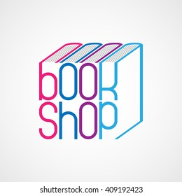 Book shop logo. Vector emblem for bookstore.