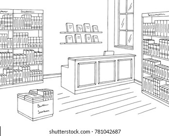 Book shop store interior graphic black white sketch illustration vector