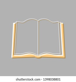 Book sign. Emboss effect with light orange icon on gray background.