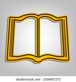 Book sign. Flat orange icon with overlapping linear black icon with gray shadow at whitish background. Illustration.