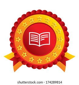 Book sign icon. Open book symbol. Red award label with stars and ribbons. Vector