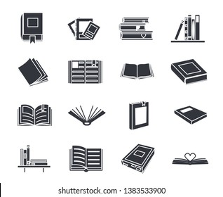 Book silhouette education reading set icons isolated vector illustration