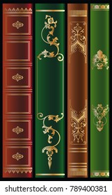 Book spines vintage set. Ornamental frames. Bookbinding design. Vector patterns.