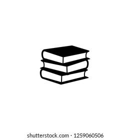 book stack vector, black icon