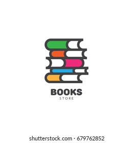 Book store logo template design. Vector illustration.