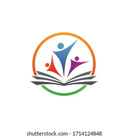 Book and student in education logo design