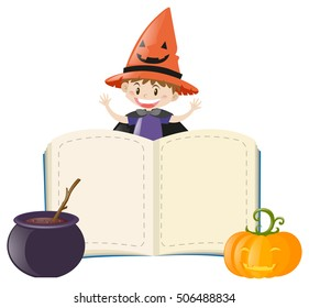 Book template with boy on halloween costume illustration