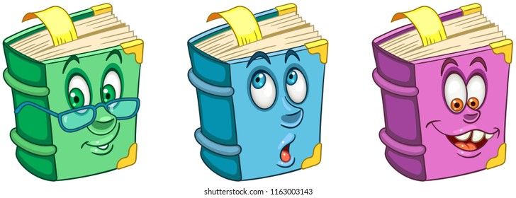Book. Textbook. School Education concept. Emoji Emoticon collection. Cartoon characters for kids coloring book, colouring pages, t-shirt print, icon, logo, label, patch, sticker.