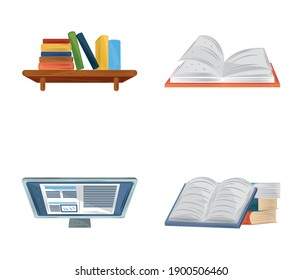book textbooks ebook computer online learn education academic icons set vector illustration