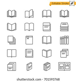 Book thin icons. Editable stroke. Pixel perfect.