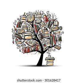 Book tree, sketch for your design. Vector illustration