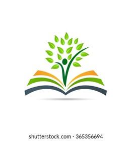 Book tree vector design represents school logo, education emblem concept.