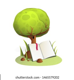 Book under tree watercolor style vector illustration. Open book under tree watercolor style illustration. Knowledge, wisdom and education metaphor isolated clipart on white background.