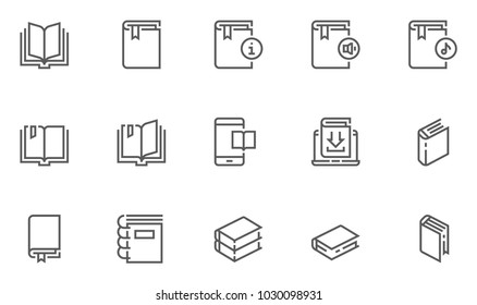 Book Vector Flat Line Icons Set. Organizer, Learning, E-Reader, Audiobook, Online Library, Literature. Editable Stroke. 48x48 Pixel Perfect.