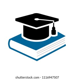 Book with vector graduation cap - education icon, academic university hat illustration