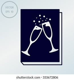 book - vector icon with glasses of champagne