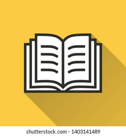 Book vector icon with long shadow. Simple illustration isolated on yellow background for graphic and web design.