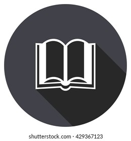 book vector icon, round flat design button, web and mobile app illustration