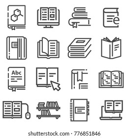 Book vector icons set. Line illustration isolated for graphic and web design.