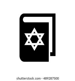 Book vector illustration. Jewish book icon. Book icon with Star of David symbol