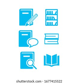 Book vector set blue scalable printable business icons
