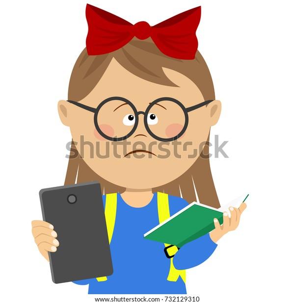 Book Vs Ebook Elementary School Student Stock Vector