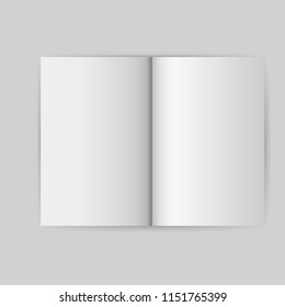Book white blank template object. Open cover mock up isolated brochure vector. Empt page business paper background. Clean booklet magazine notebook. Realistic document gray illustration concept.